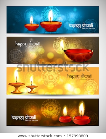 happy diwali beautiful bright three colorful set of headers vect stock photo © bharat