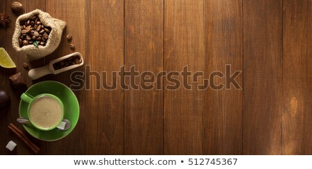 lemons and coffee beans on burlap Stock photo © oly5