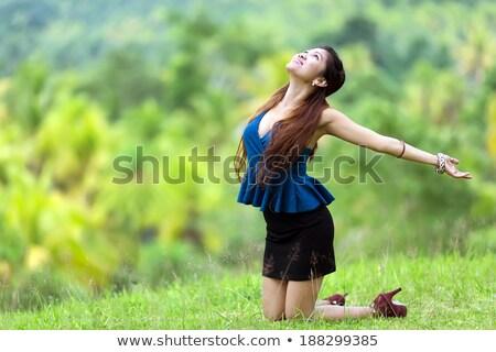 Gyönyörű filipina nő ujjongás természet elegáns Stock fotó © smithore