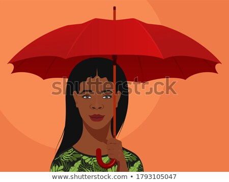 Belo elegante mulher laranja guarda-sol correspondente Foto stock © smithore