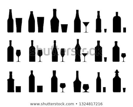 シルエット · 眼鏡 · 水 · アルコール · ベクトル · ビール - ストックフォト © muuraa
