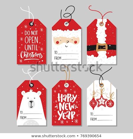 piros · zöld · klasszikus · karácsony · címkék · szett - stock fotó © beaubelle