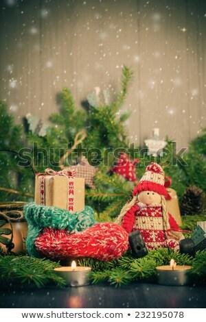 Рождества ручной работы носок талисман дерево украшения Сток-фото © fotoaloja