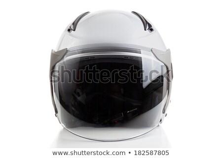 Witte jet vechter stijl helm glanzend Stockfoto © Kor