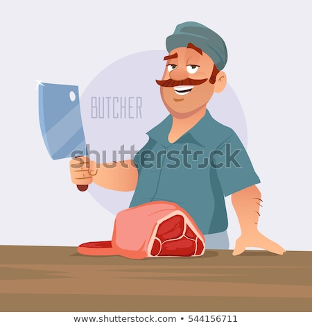 Stock photo: comic cartoon meat cleaver