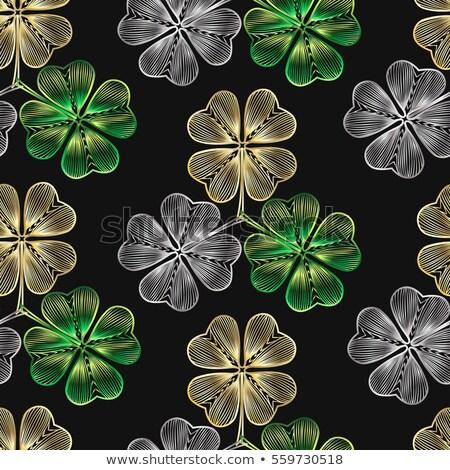 Foto stock: Verde · sem · costura · trevo · folhas · ilustração · vetor