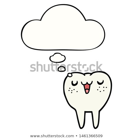 cartoon happy tooth with thought bubble stock photo © lineartestpilot