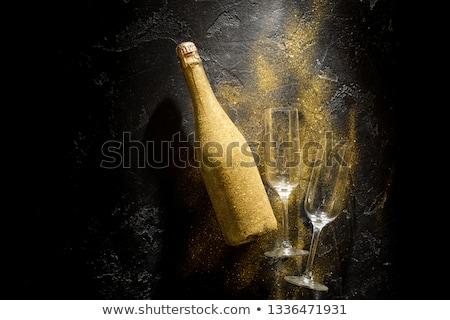 mantar · şampanya · şişe · beyaz · parti · arka · plan - stok fotoğraf © Rob_Stark