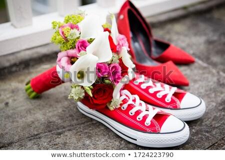 Wedding pink flowers with sneakers Stock photo © dariazu