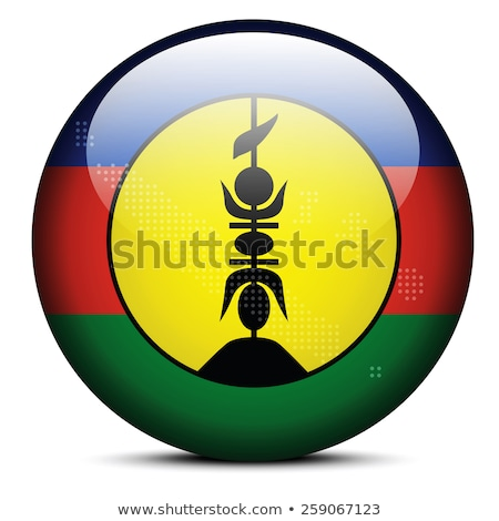 Map with Dot Pattern on flag button of New Caledonia, French sui Stock photo © Istanbul2009