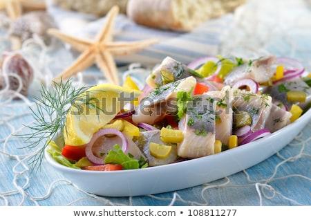 fiatal · saláta · cékla · hagymák · savanyúság · étel - stock fotó © joker