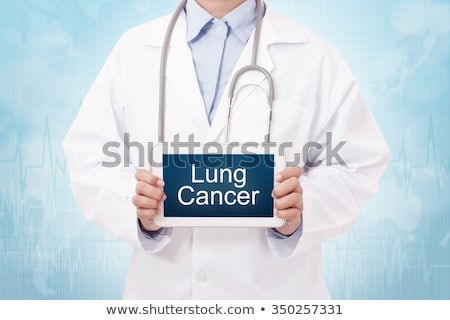 tablet with the diagnosis lung cancer on the display stock photo © zerbor