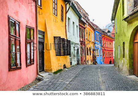 Old stone paved street with tourists from Sighisoara fortress stock photo © pixachi
