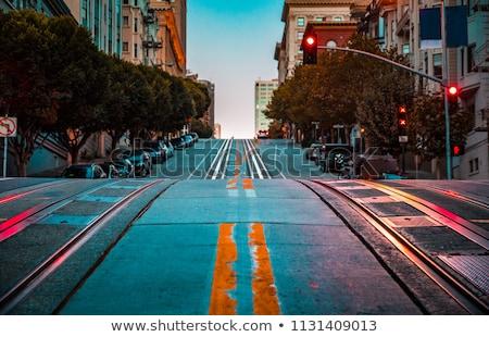 известный кабеля автомобилей крутой улице Сан-Франциско Сток-фото © AndreyKr