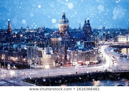 Amsterdam · akşam · karanlığı · aziz · kilise · Hollanda · su - stok fotoğraf © franky242