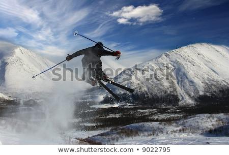 Kayakçı gökyüzü doğa dağ yaz seyahat Stok fotoğraf © OleksandrO