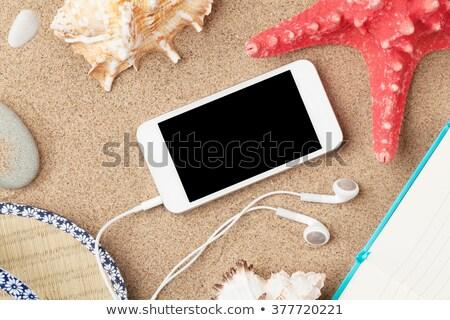 smartphone and notepad on sea sand with starfish stock photo © karandaev