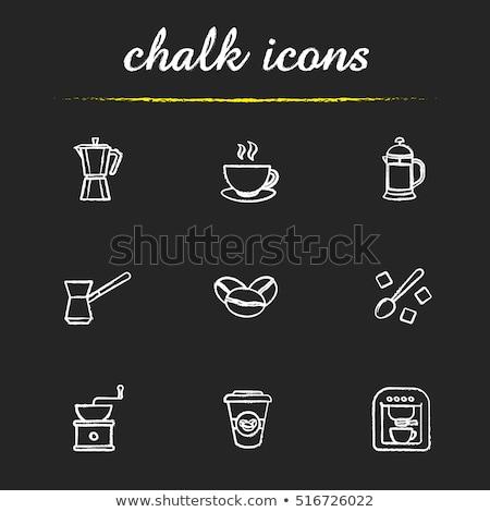 Koffiezetapparaat icon krijt Blackboard Stockfoto © RAStudio