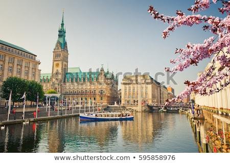 красивой Гамбург Германия здании строительство часы Сток-фото © elxeneize