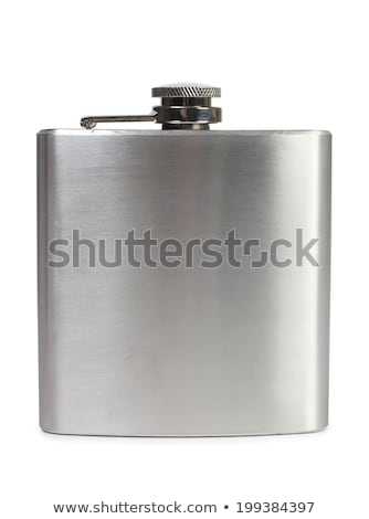 Stock photo: Flat metal flask on white background