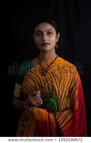 tímido · sorrir · belo · indiano · menina · isolado - foto stock © shawlinmohd