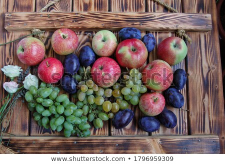Pomme prune alimentaire feuille fruits bleu Photo stock © constantinhurghea
