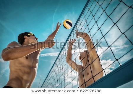 Homme · volleyball · joueur · cartoon · sport · fille - photo stock © rastudio