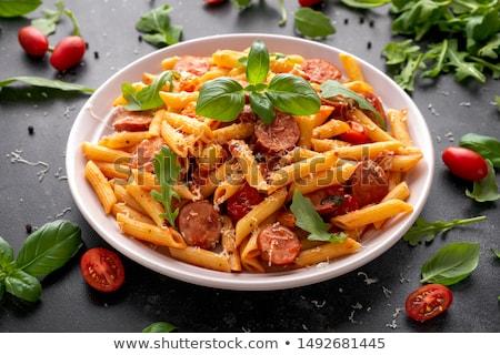 hús · kolbászok · akasztás · fekete · fából · készült · étel - stock fotó © digifoodstock
