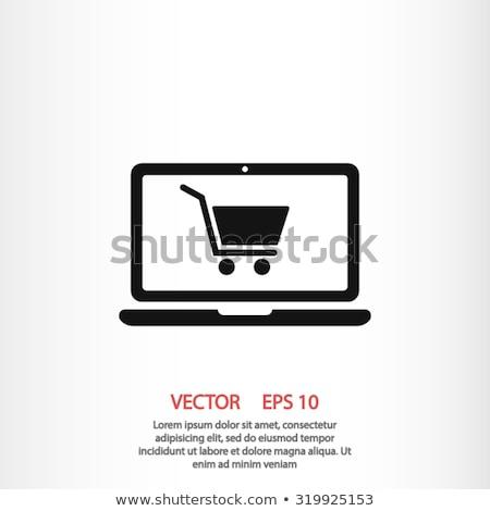 sziluett · kosár · online · bolt · ikon · bevásárlókocsi · lineáris - stock fotó © wad