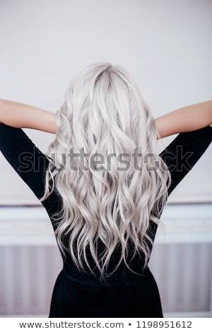 zwart · haar · vrouw · lang · grijs · jurk · hoed - stockfoto © elnur