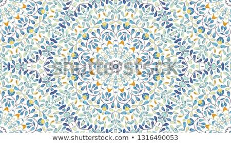 Mandala csempe keret terv copy space kék Stock fotó © hpkalyani