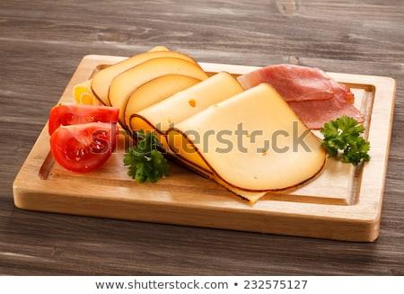 Сток-фото: Sliced Tomato And Smoked Cheese