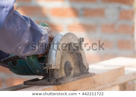Stock photo: Carpenter using circular saw in loggers