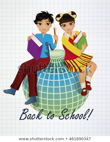 Okula geri küçük Asya kız erkek dünya Stok fotoğraf © carodi