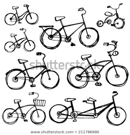 Tandem bicikli rajz ikon vektor izolált Stock fotó © RAStudio