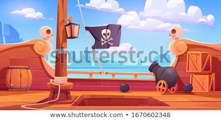 Barrel with skull and bones vector illustration. Stock photo © RAStudio