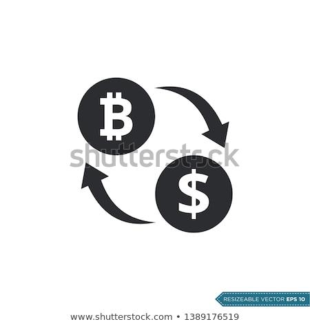 Bitcoin scambio icona bianco contanti stock Foto d'archivio © sdCrea