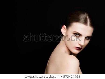 Beauty purrple lips makeup fashion model girl Stock photo © DenisMArt