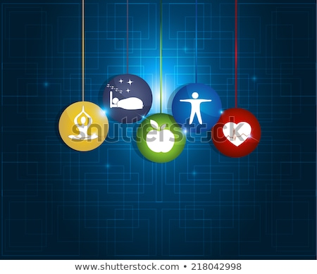 Healthy living round symbols. Healthy food, fitness, no stress a Stock photo © Tefi