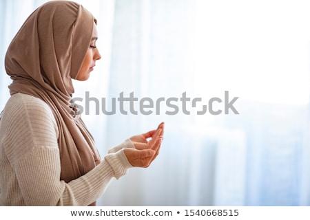 muslim · donna · pregando · moschea · giovani · mani - foto d'archivio © jasminko