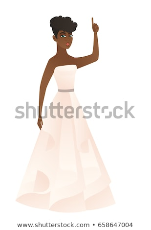 Fiancee with open mouth pointing finger up. Stock photo © RAStudio