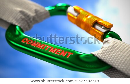 Stock photo: Commitment on Green Carabine with White Ropes.