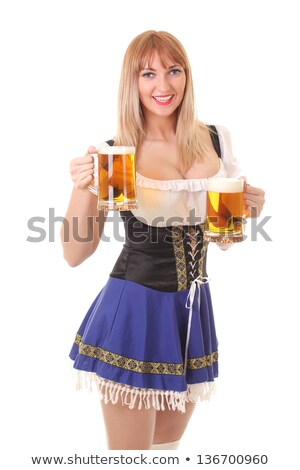 portrait of beautiful blonde woman in waitress uniform with knife stock photo © julenochek