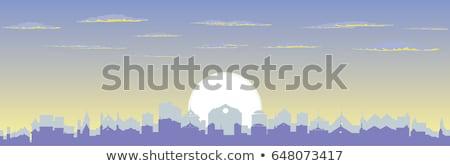 Sziluett város hajnal absztrakt város ipari táj Stock fotó © popaukropa