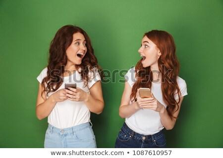 Kettő lányok chat telefon illusztráció lány Stock fotó © colematt