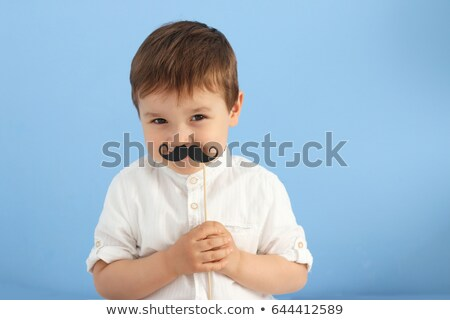 weinig · kaukasisch · jongen · namaak · snor - stockfoto © rastudio