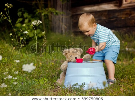 boy toddler at tea party with his teddy stock photo © is2