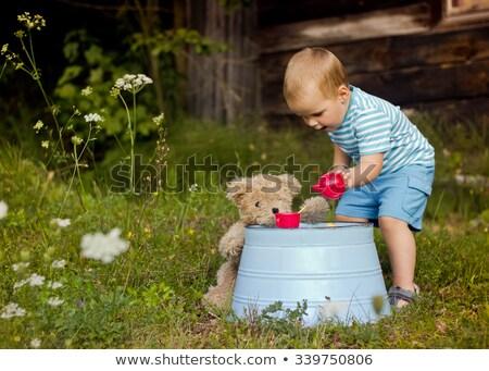 Fiú kisgyerek tea buli plüssmaci étel Stock fotó © IS2