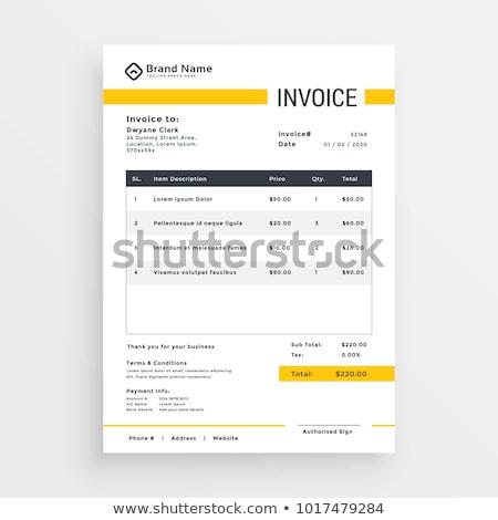 minimal yellow invoice template vector design Stock photo © SArts
