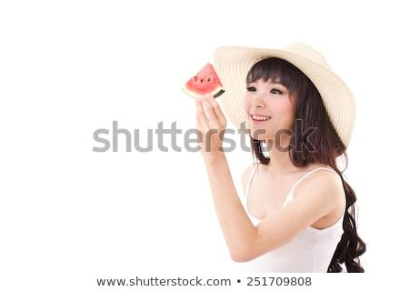 görögdinnye · lány · illusztráció · nő · ül · vmi · mellett - stock fotó © rastudio